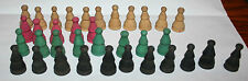 Lot of 35 very old wood game tokens - turned wood in 4 colors very nice