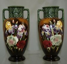 Czechoslovakian Spritzdekor Airbrushed Floral - Pair of Vases