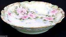 Antique Hand Painted Large Porcelain Limoges Mums Bowl Coiffe 1900