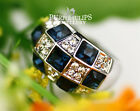 18CT White Gold Plated Sapphire& Clear Genuine SWAROVSKI Crystals Grid Ring