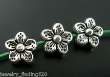 50Pcs Silver Tone Flower Spacer Beads 9mm