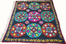 Uzbek Silk Embroidered Suzani Hand Embroidery Vintage Style Wall Hanging 167