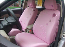 Universal Light Pink Hello Kitty Car Seat Front Rear Cover Accessory Set 10 Pcs