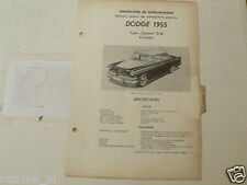 DOD1-- DODGE CORONET D-56 6 CYLINDER 1955,TECHNICAL INFO CAR CLASSIC OLDTIMER