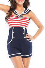 Navy Red White Women Pin up Sailor Role Play Costume LC8847