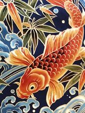 RPB382D Japanese Koi Fish Water Sea Wave Asian Exotic Japan Cotton Quilt Fabric