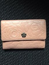 authentic Chanel dusty pink camelia wallet lambskin