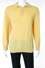 Brooks Brothers Mens Yellow Cashmere Long Sleeve Crew Neck Sweater Size Large