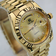 CROMA Day&Date Quartz 18K Gold Plated Gold Dial Luxury Dress Styles watch