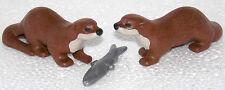 2 Otter con pescado Playmobil a Western bosque cazador trampero animales animal Park Zoo 968
