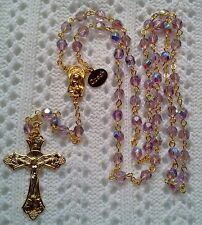 AMETHYST PURPLE AB CRYSTAL ROSARY -18K GOLD PLATED-MADE IN CZECH