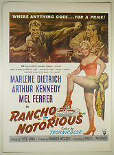 Vintage 1952 Lg Full Pg Magazine Movie Print Ad: RANCHO NOTORIOUS - M. Dietrich