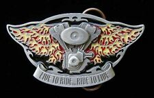 LIVE TO RIDE V-TWIN WITH FLAMES BELT BUCKLE BUCKLES!