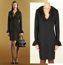 GUCCI DRESS BLACK WOOL JERSEY V-NECKLINE WITH RUFFLES sz SMALL