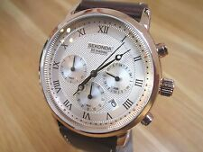 NEW MENS SEKONDA CHRONO  WATCH SILVER MULTI DIAL GENUINE BROWN LEATHER STRAP