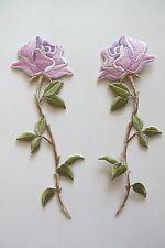 """#3956R Lot 2Pcs 6-1/4"""" Purple Rose Flower Embroidery Applique Patch/Pair"""