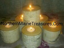 Set 6 MAINE WHITE BIRCH BARK CANDLE LOGS-Rustic Wedding Decor XXTRA WIDE 3.5+