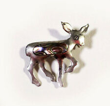 Cute Vintage JAE TAXCO Mexican Sterling Silver Fawn Deer Abalone Shell 1.25""