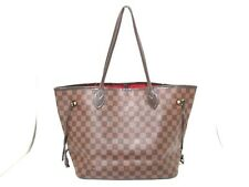 Authentic LOUIS VUITTON Damier Neverfull MM N51105 Ebene Tote Bag CA0121