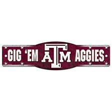 "Texas A&M Aggies Official NCAA 4.5"" x 17"" Plastic Street Sign AM by Wincraft"