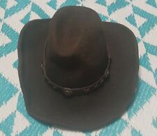 Twister Dakota Comfort Felt 100% Wool Black/Brown Western Cowboy Hat