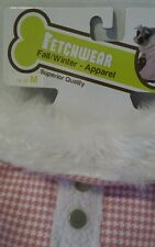 """DogCoat Pink White Checked Faux Fur Collar Winter  M 14-15"""" Pom Peke Silky Terr"""