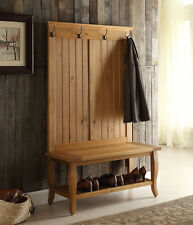 Natural 1-Shelf Hall Tree Bench Indoor Home Living Room Decor Furniture Entryway
