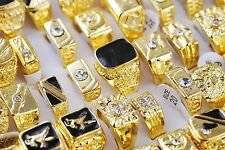 Bid Fashion Jewelry Lots 5pcs Gold Plated Rhinestone Men's Cool Rings FREE