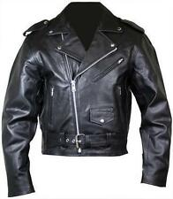 Men's Black Real Leather Motorcycle Jacket Brando Style Perfecto Classic Harley