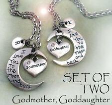 Set of 2 Godmother & Goddaughter I Love You to the Moon and Back Necklaces