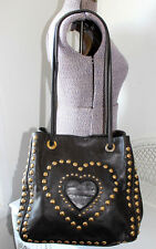 MOSCHINO by REDWALL Purse SATCHEL Studded HEART Brown Leather READ DESCRIPTION
