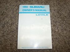 1992 Subaru Loyale Operator User Guide Owner Owner's Manual 1.8L