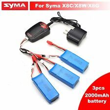 3pcs 7.4V 2000mAh Battery+Charger For Syma X8W X8C X8G RC Quadcopter Banana Plug