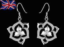 925 Sterling Silver Flower Earrings Dangle Drop Hook Girls Gift Bag UK