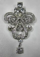 "Vintage CORO Sterling Designer Signed Clear Rhinestone Brooch Pin 2 5/8"" Tall"