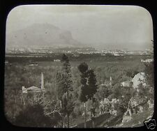 Glass Magic Lantern Slide MONREALE TOWARDS PALERMO SICILY C1890 ITALY