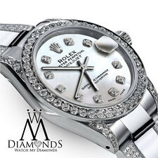Ladies 26mm s Rolex Oyster Perpetual Datejust Custom Diamonds White Dial Accent