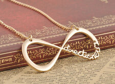 Fashion 1D One Direction Infinity 8 Symbol Forever Love Charm Gold Necklace