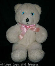 "16"" VINTAGE WHITE TEDDY BEAR COMMONWEALTH STUFFED ANIMAL TOY PLUSH PINK BOW BIG"