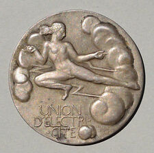 ART DECO ELECTRICITY UNION  FRANCE SILVER MEDAL BY DROPSY