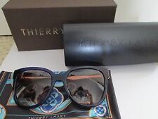New Authentic Thierry Lasry Flashy 384 Blue Gold Square Sunglasses $455 w/ Case