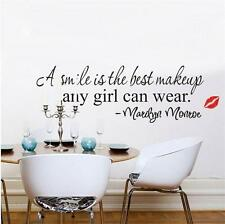 1pc New Marilyn Monroe Smile Decal Quote Vinyl Wall Sticker Mural Home Decor