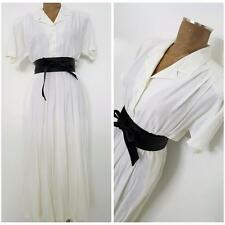 Vintage 80s Carol Anderson Dress Size Large White Full Swing Batwing Sleeve