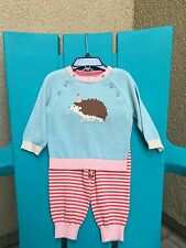 Baby Mini Boden Knit Playset~Cotton Sweater & Pants Outfit 3-6 M NWT Hedgehog