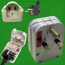 White, 2 Pin Schuko to 13A UK 3 Pin Mains Fused Plug Converter Travel Adaptor