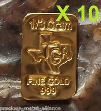 10 (X) GOLD 1/3 GRAMS 24K PURE BULLION BAR 9999 FINE INGOT LOT SAVE SAVE$$ !!