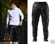 CELEBRITY LOVED!! En Noir Pin Tuck Leather Sweat pants (SEEN ON JUSTIN BIEBR)  M