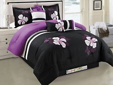 7 Applique Embroidery Floral Blossom Comforter Set Purple Black Gray White Queen