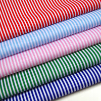 Candy Stripes Fabric - 3mm Striped - Polycotton Blue Red White