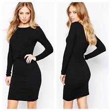 YAS Dress Black Bodycon Mirsa Stretch Jacquard Dress Size UK 6 BNWT | Y.A.S